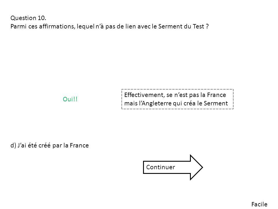 Facile Question 10. Parmi ces affirmations, lequel nà pas de lien avec le Serment du Test ? d) Jai été créé par la France Oui!! Effectivement, se nest