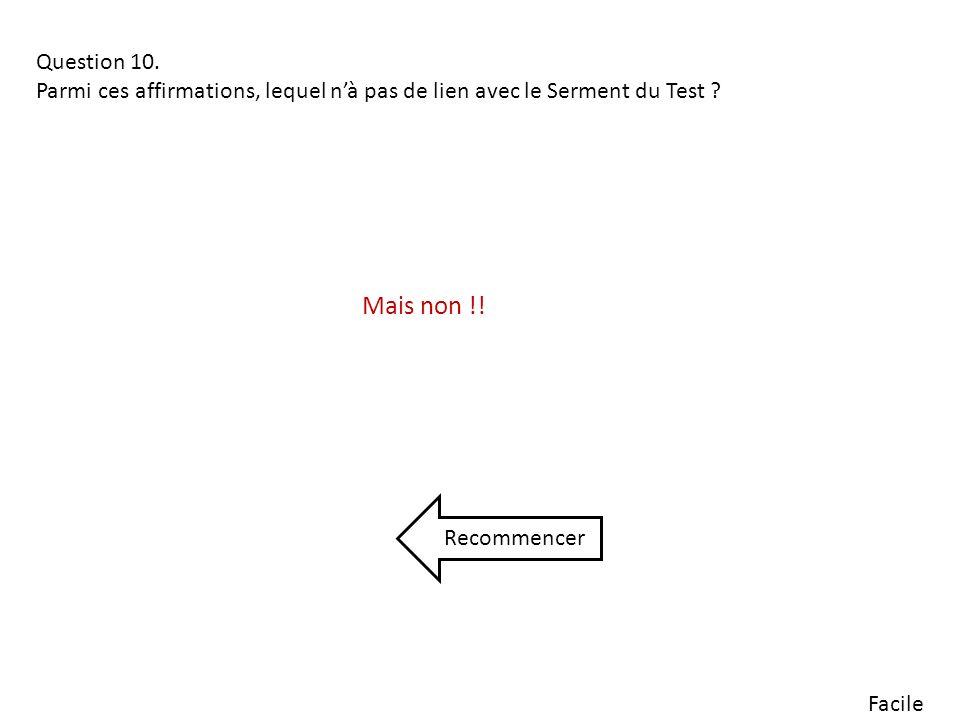 Facile Question 10.Parmi ces affirmations, lequel nà pas de lien avec le Serment du Test .
