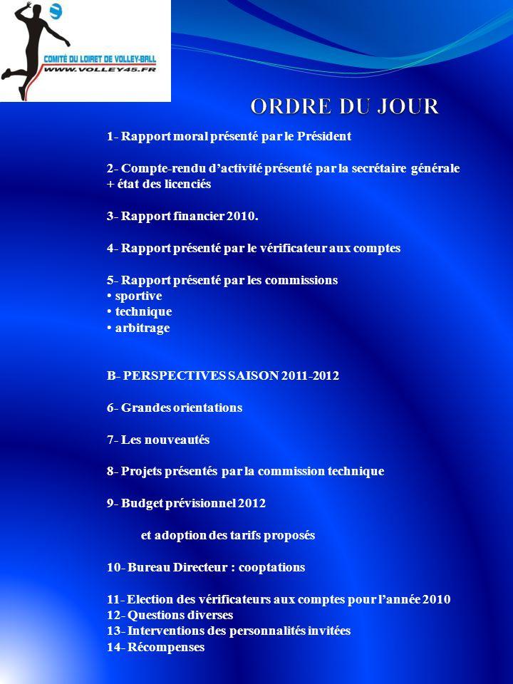 1- Rapport moral présenté par le Président 2- Compte-rendu dactivité présenté par la secrétaire générale + état des licenciés 3- Rapport financier 2010.