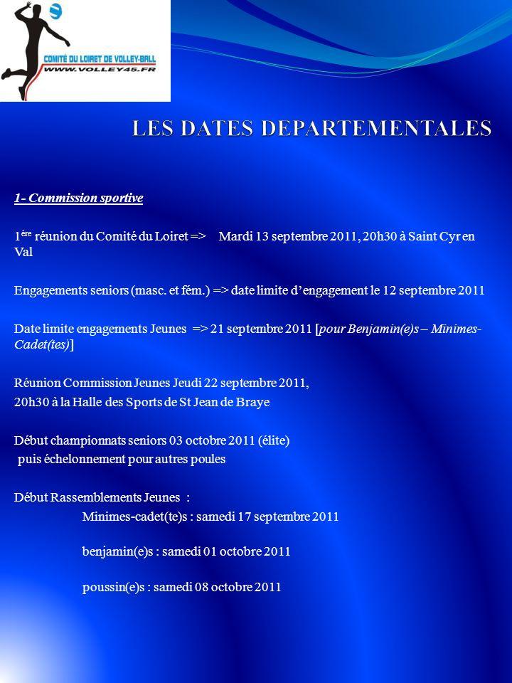 1- Commission sportive 1 ère réunion du Comité du Loiret =>Mardi 13 septembre 2011, 20h30 à Saint Cyr en Val Engagements seniors (masc.