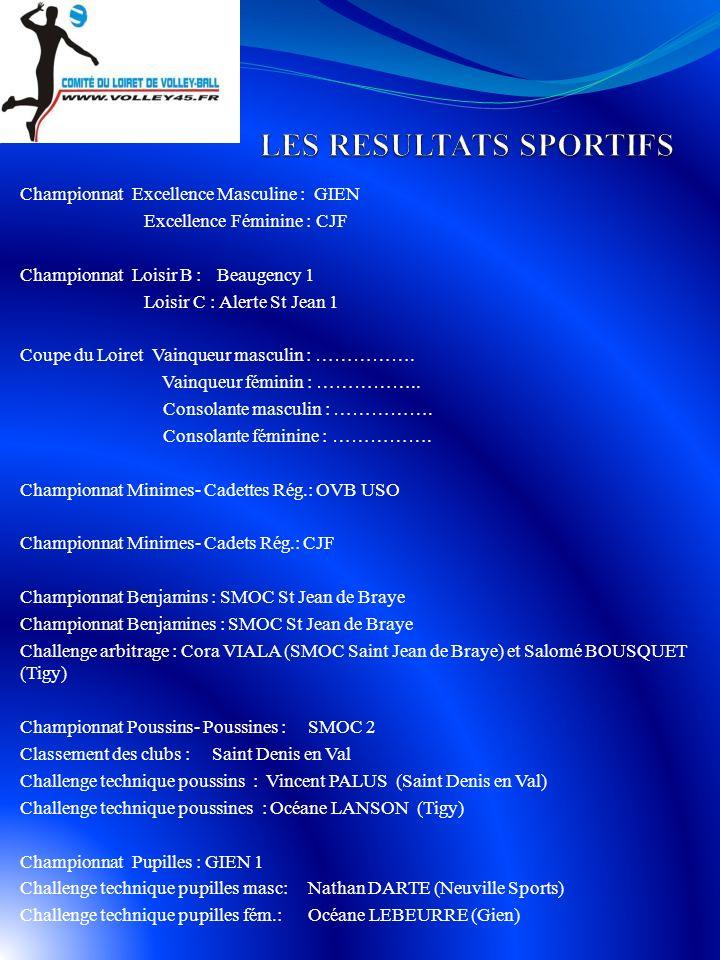 Championnat Excellence Masculine : GIEN Excellence Féminine : CJF Championnat Loisir B : Beaugency 1 Loisir C : Alerte St Jean 1 Coupe du Loiret Vainqueur masculin : …………….