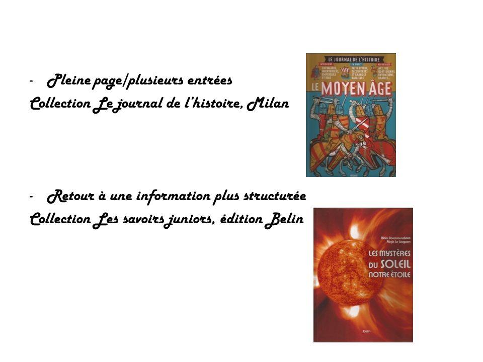 -Pleine page/plusieurs entrées Collection Le journal de lhistoire, Milan -Retour à une information plus structurée Collection Les savoirs juniors, édi
