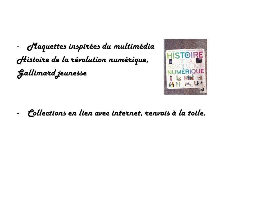 -Maquettes inspirées du multimédia Histoire de la révolution numérique, Gallimard jeunesse -Collections en lien avec internet, renvois à la toile.
