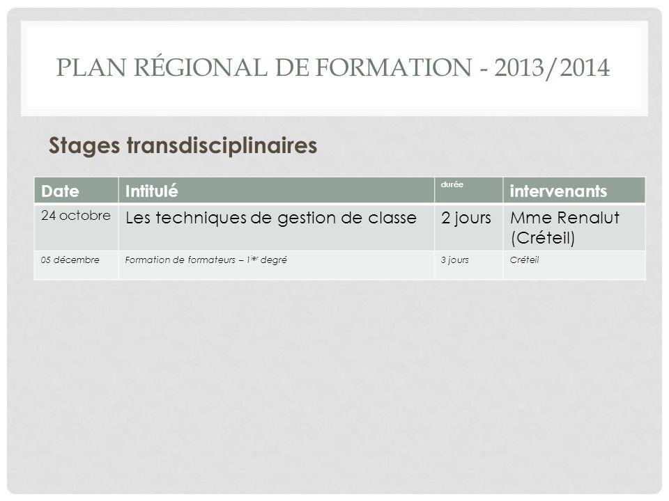 PLAN RÉGIONAL DE FORMATION - 2013/2014 Stages transdisciplinaires DateIntitulé durée intervenants 24 octobre Les techniques de gestion de classe2 jour