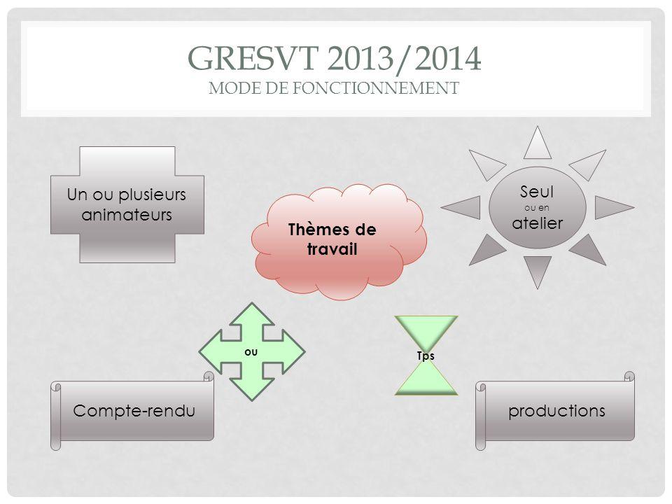GRESVT 2013/2014 MODE DE FONCTIONNEMENT Un ou plusieurs animateurs Thèmes de travail productionsCompte-rendu Seul ou en atelier Tps ou