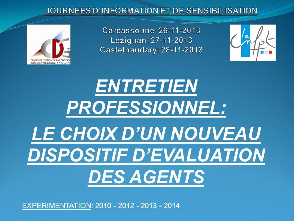 ENTRETIEN PROFESSIONNEL: LE CHOIX DUN NOUVEAU DISPOSITIF DEVALUATION DES AGENTS EXPERIMENTATION: 2010 - 2012 - 2013 - 2014 OBLIGATION: 2015