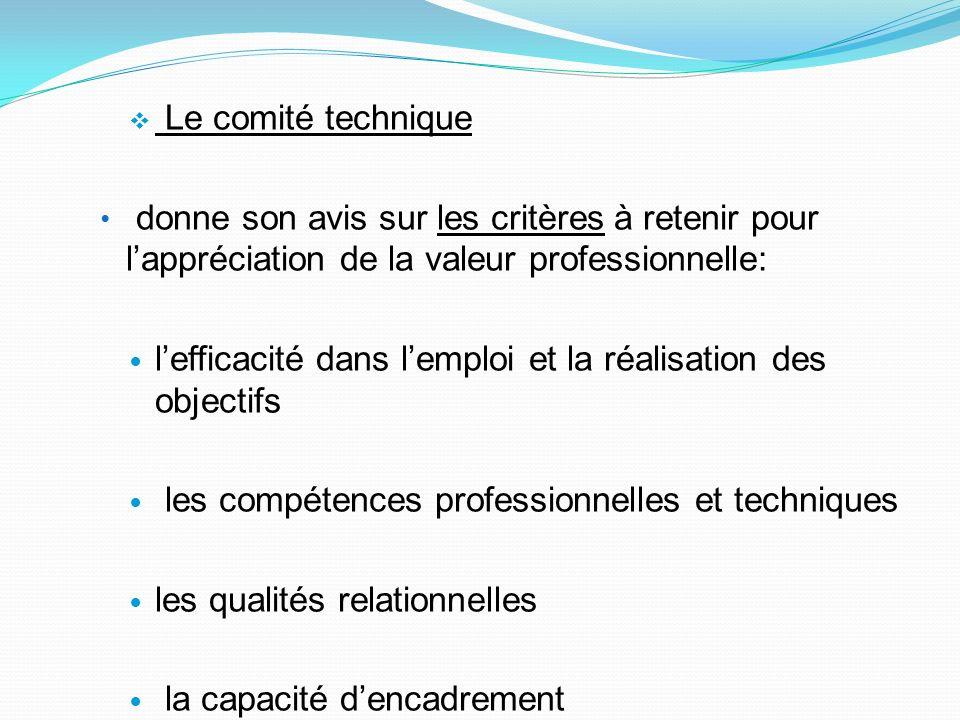 Le comité technique donne son avis sur les critères à retenir pour lappréciation de la valeur professionnelle: lefficacité dans lemploi et la réalisat