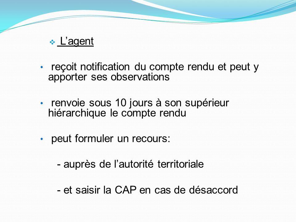 Lagent reçoit notification du compte rendu et peut y apporter ses observations renvoie sous 10 jours à son supérieur hiérarchique le compte rendu peut
