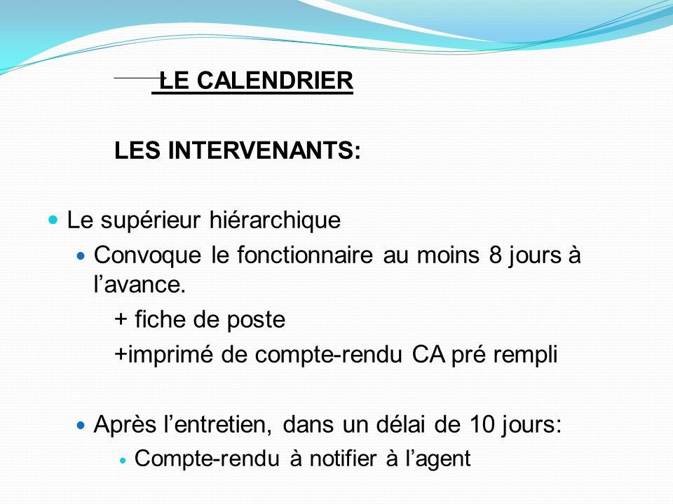 LE CALENDRIER LES INTERVENANTS: Le supérieur hiérarchique Convoque le fonctionnaire au moins 8 jours à lavance. + fiche de poste +imprimé de compte-re