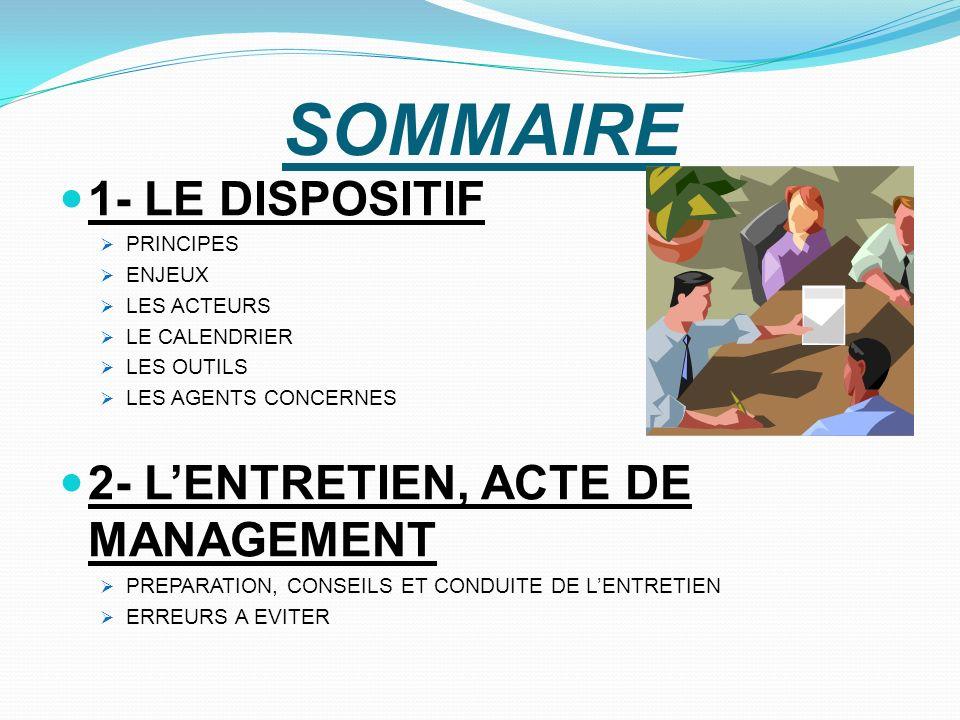 SOMMAIRE 1- LE DISPOSITIF PRINCIPES ENJEUX LES ACTEURS LE CALENDRIER LES OUTILS LES AGENTS CONCERNES 2- LENTRETIEN, ACTE DE MANAGEMENT PREPARATION, CO