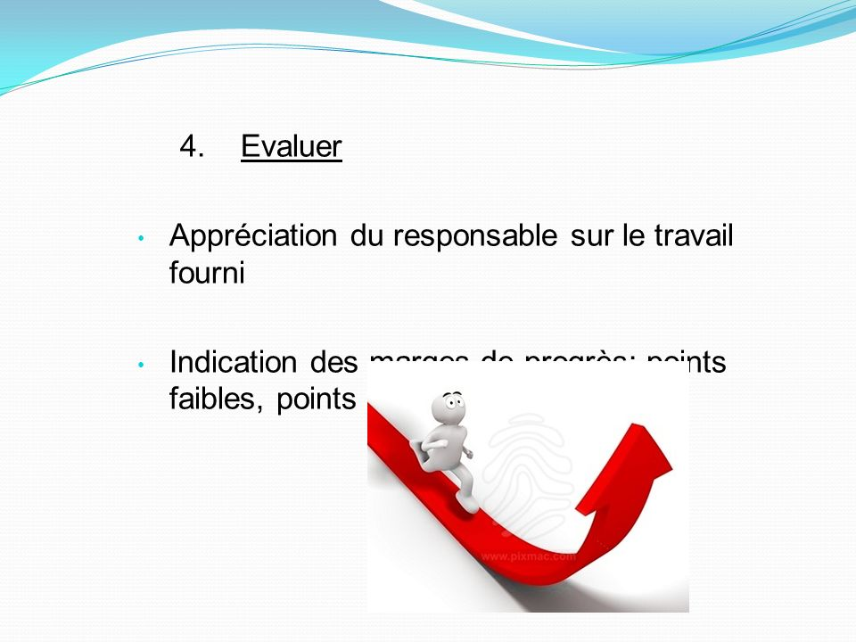 4. Evaluer Appréciation du responsable sur le travail fourni Indication des marges de progrès: points faibles, points forts