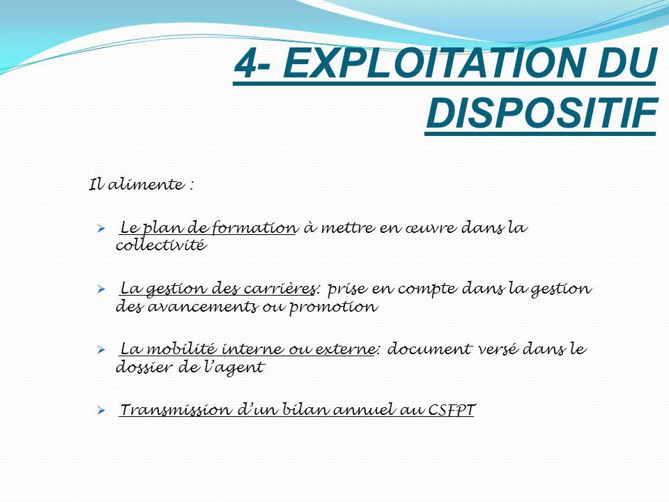 4- EXPLOITATION DU DISPOSITIF Il alimente : Le plan de formation à mettre en œuvre dans la collectivité La gestion des carrières: prise en compte dans