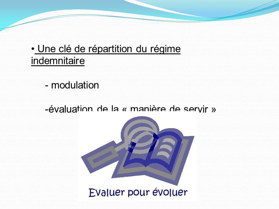 Une clé de répartition du régime indemnitaire - modulation -évaluation de la « manière de servir »