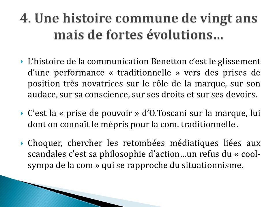 Lhistoire de la communication Benetton cest le glissement dune performance « traditionnelle » vers des prises de position très novatrices sur le rôle