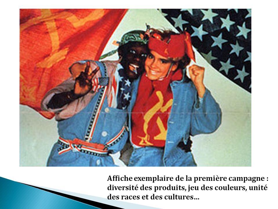 Affiche exemplaire de la première campagne : diversité des produits, jeu des couleurs, unité des races et des cultures…