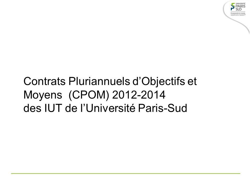 Contrats Pluriannuels dObjectifs et Moyens (CPOM) 2012-2014 des IUT de lUniversité Paris-Sud