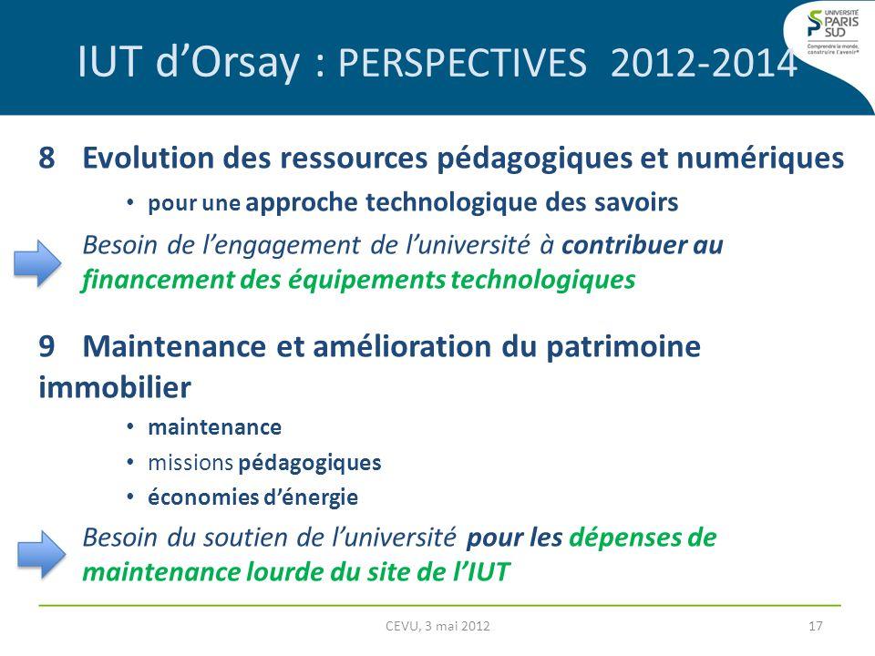 IUT dOrsay : PERSPECTIVES 2012-2014 8Evolution des ressources pédagogiques et numériques pour une approche technologique des savoirs Besoin de lengage