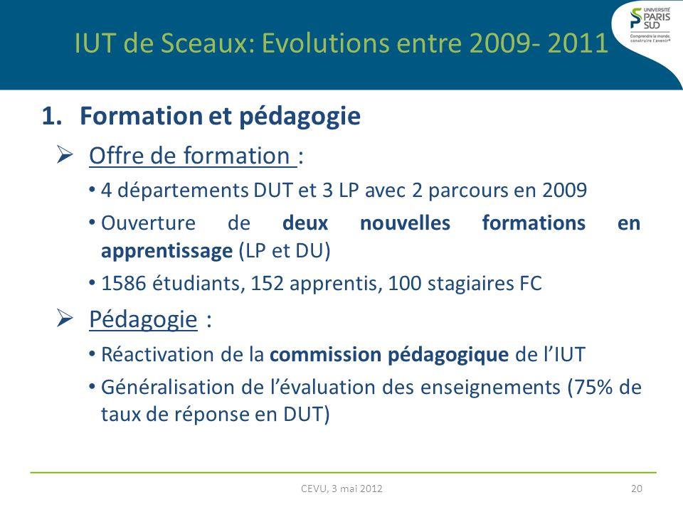 IUT de Sceaux: Evolutions entre 2009- 2011 1.Formation et pédagogie Offre de formation : 4 départements DUT et 3 LP avec 2 parcours en 2009 Ouverture