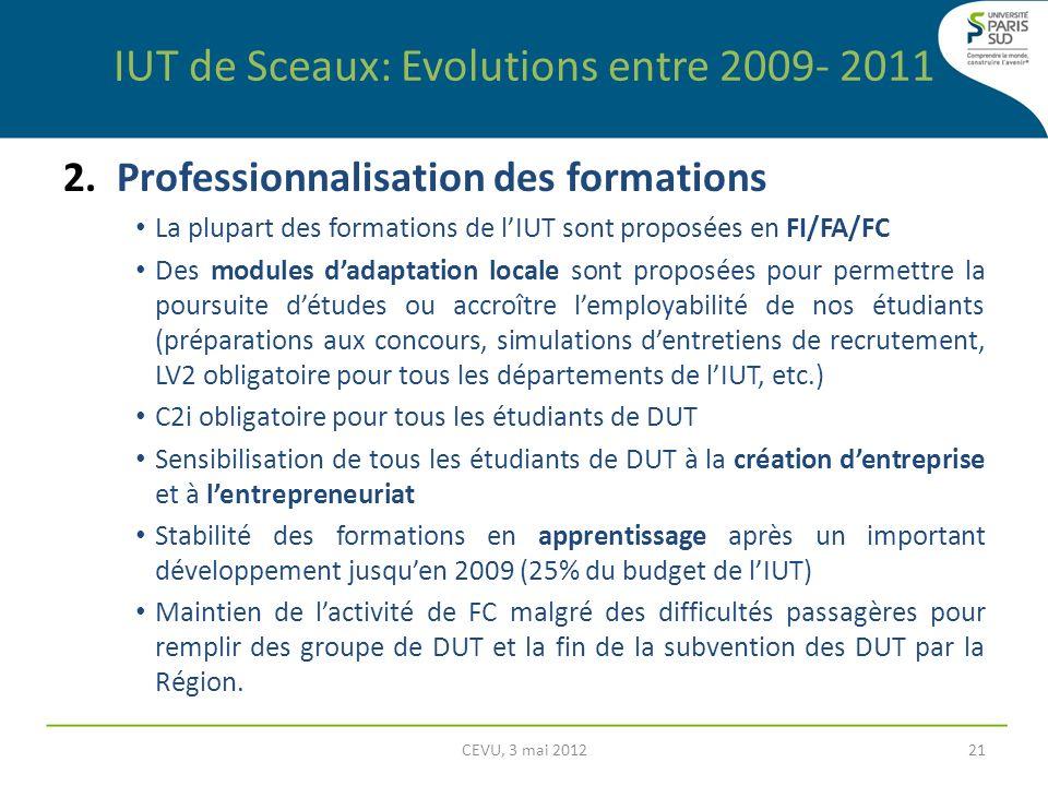 2. Professionnalisation des formations La plupart des formations de lIUT sont proposées en FI/FA/FC Des modules dadaptation locale sont proposées pour