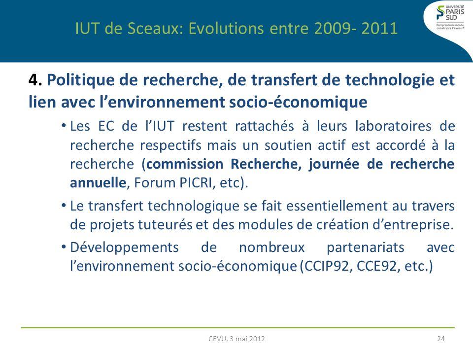 4. Politique de recherche, de transfert de technologie et lien avec lenvironnement socio-économique Les EC de lIUT restent rattachés à leurs laboratoi