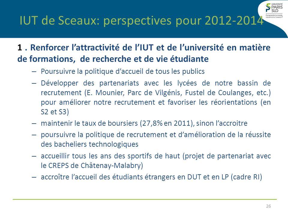 IUT de Sceaux: perspectives pour 2012-2014 1. Renforcer lattractivité de lIUT et de luniversité en matière de formations, de recherche et de vie étudi