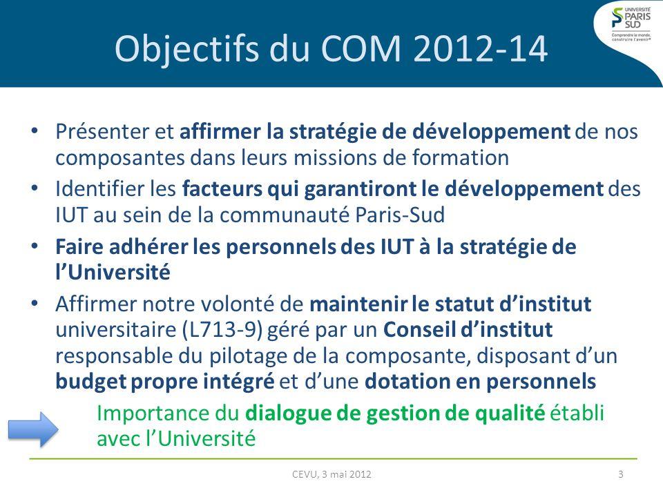 Objectifs du COM 2012-14 Présenter et affirmer la stratégie de développement de nos composantes dans leurs missions de formation Identifier les facteu