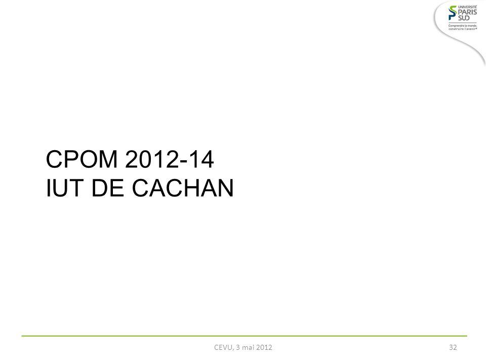 CPOM 2012-14 IUT DE CACHAN CEVU, 3 mai 201232