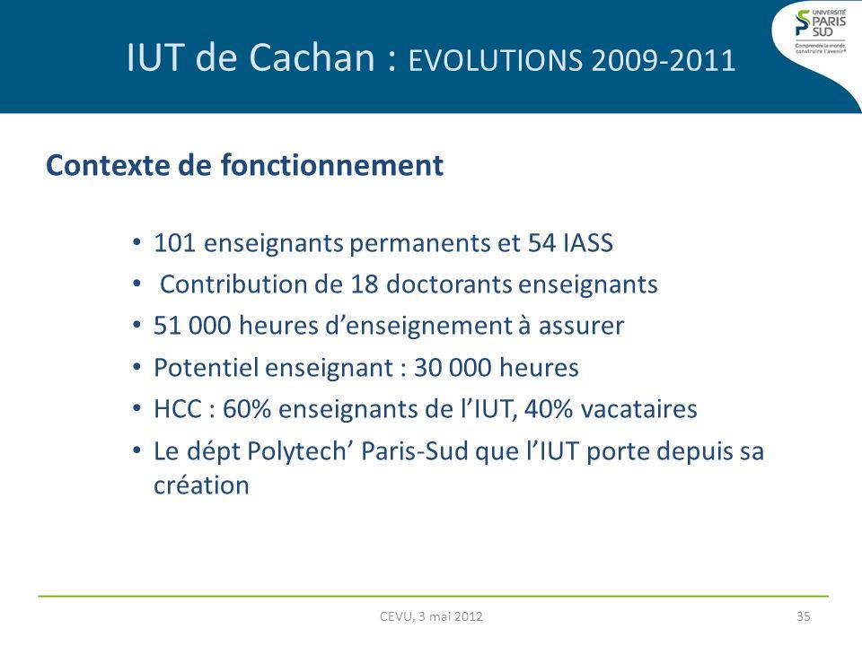 IUT de Cachan : EVOLUTIONS 2009-2011 Contexte de fonctionnement 101 enseignants permanents et 54 IASS Contribution de 18 doctorants enseignants 51 000