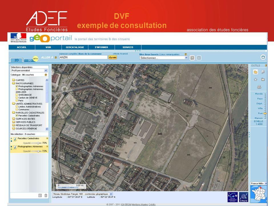 Réseau national déchanges sur linformation immobilière et foncière - mercredi 14 décembre 2011 DVF exemple de consultation