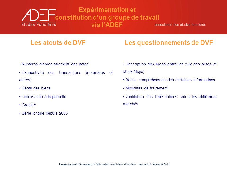 Réseau national déchanges sur linformation immobilière et foncière - mercredi 14 décembre 2011 Test de dénombrement des transactions