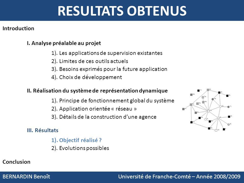 BERNARDIN Benoît Université de Franche-Comté – Année 2008/2009 RESULTATS OBTENUS Introduction I. Analyse préalable au projet 1). Les applications de s