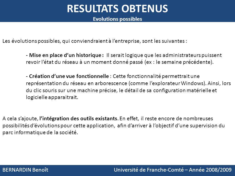 BERNARDIN Benoît Université de Franche-Comté – Année 2008/2009 RESULTATS OBTENUS Evolutions possibles Les évolutions possibles, qui conviendraient à l