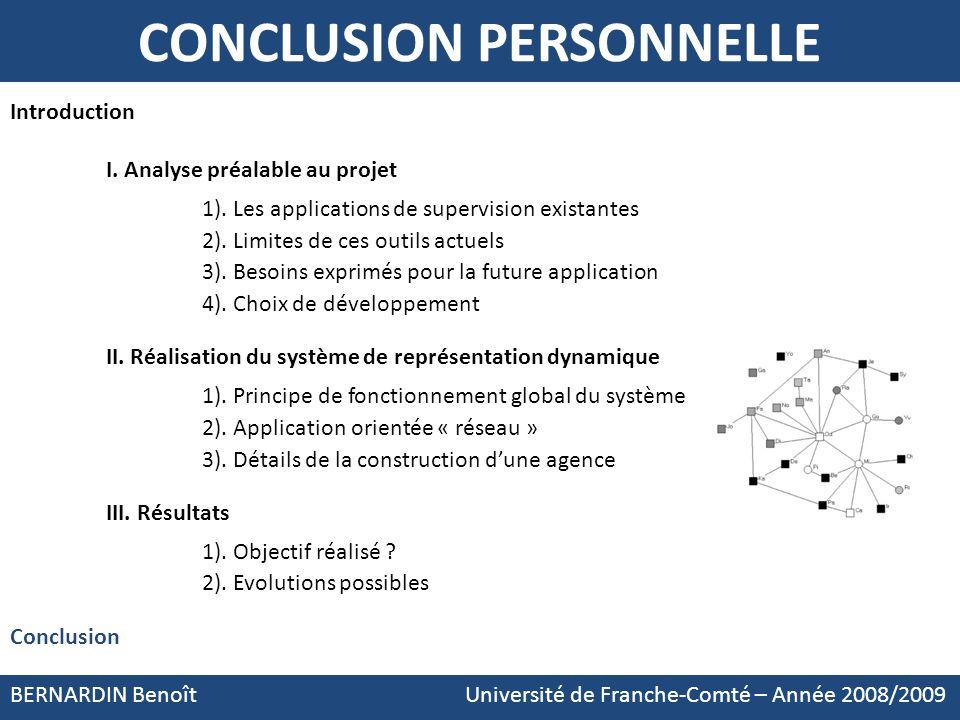 BERNARDIN Benoît Université de Franche-Comté – Année 2008/2009 CONCLUSION PERSONNELLE Introduction I. Analyse préalable au projet 1). Les applications