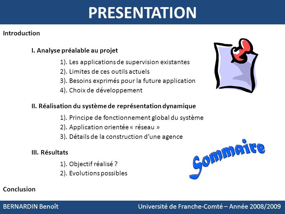 PRESENTATION BERNARDIN Benoît Université de Franche-Comté – Année 2008/2009 Introduction I. Analyse préalable au projet 1). Les applications de superv