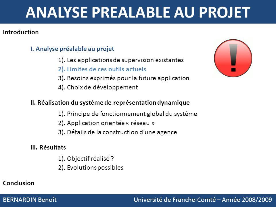 BERNARDIN Benoît Université de Franche-Comté – Année 2008/2009 Introduction I. Analyse préalable au projet 1). Les applications de supervision existan