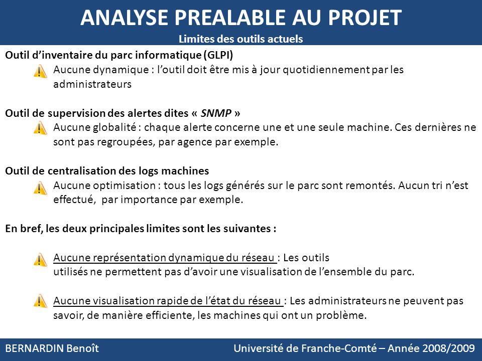 Outil dinventaire du parc informatique (GLPI) Aucune dynamique : loutil doit être mis à jour quotidiennement par les administrateurs Outil de supervis