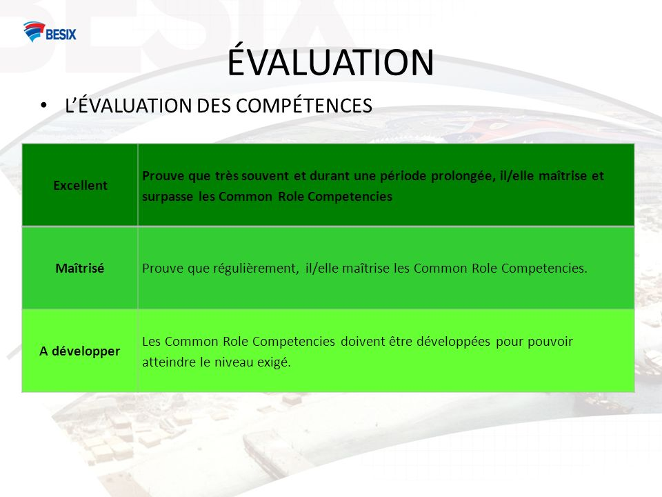 ÉVALUATION LÉVALUATION DES COMPÉTENCES Excellent Prouve que très souvent et durant une période prolongée, il/elle maîtrise et surpasse les Common Role Competencies MaîtriséProuve que régulièrement, il/elle maîtrise les Common Role Competencies.