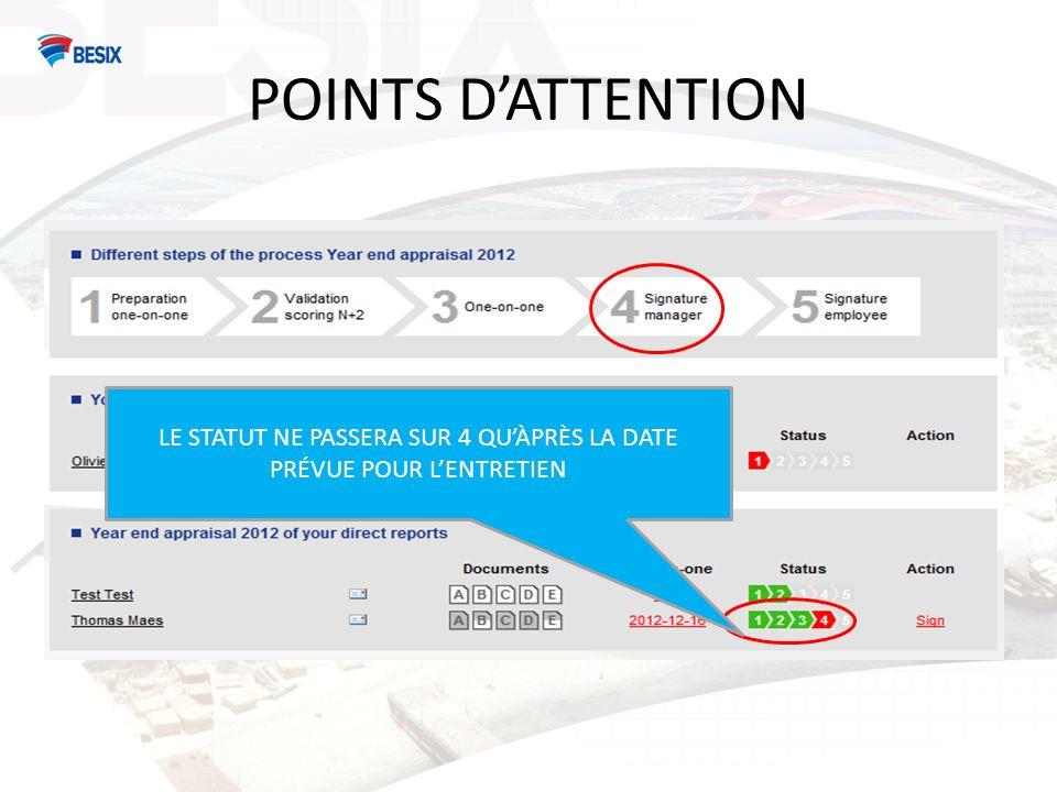 POINTS DATTENTION LE STATUT NE PASSERA SUR 4 QUÀPRÈS LA DATE PRÉVUE POUR LENTRETIEN
