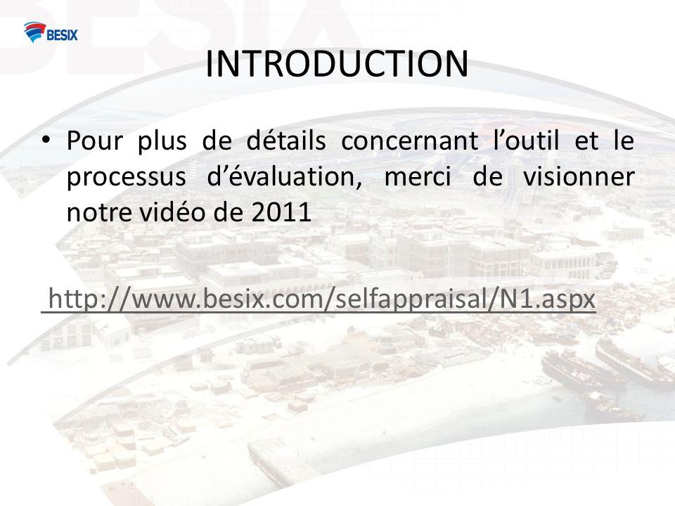 INTRODUCTION Pour plus de détails concernant loutil et le processus dévaluation, merci de visionner notre vidéo de 2011 http://www.besix.com/selfappraisal/N1.aspx