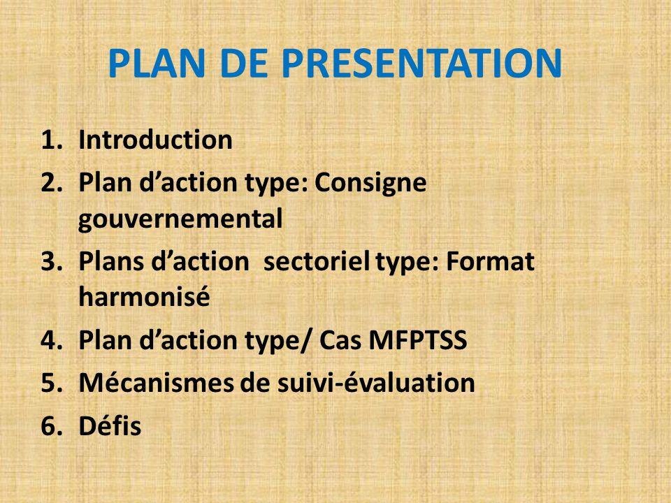 1.Introduction 2.Plan daction type: Consigne gouvernemental 3.Plans daction sectoriel type: Format harmonisé 4.Plan daction type/ Cas MFPTSS 5.Mécanis