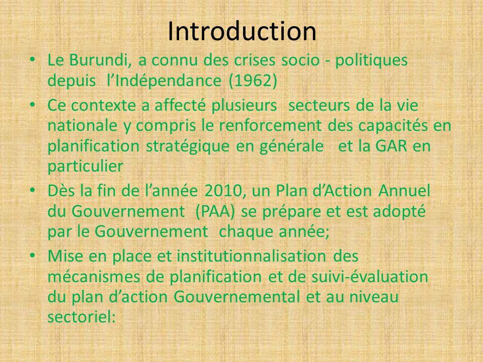 Introduction Le Burundi, a connu des crises socio - politiques depuis lIndépendance (1962) Ce contexte a affecté plusieurs secteurs de la vie national