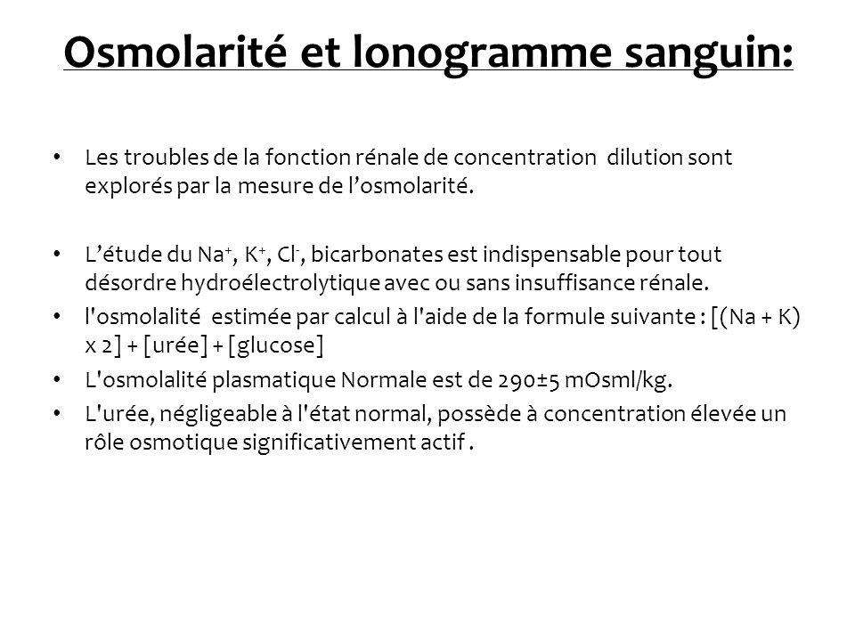 Osmolarité et lonogramme sanguin: Les troubles de la fonction rénale de concentration dilution sont explorés par la mesure de losmolarité. Létude du N