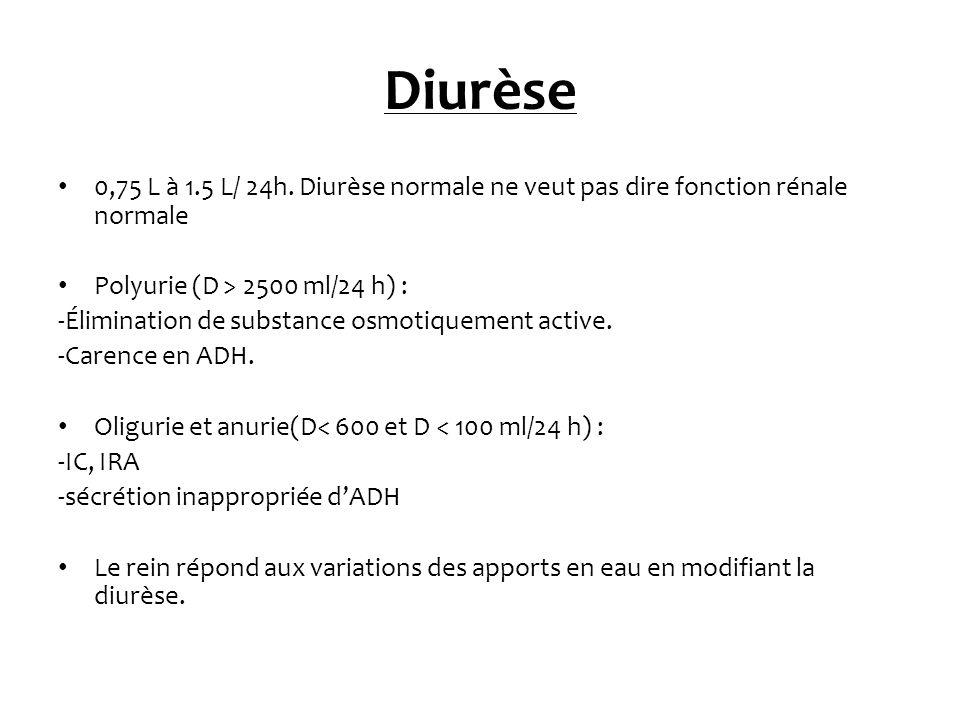 Diurèse 0,75 L à 1.5 L/ 24h. Diurèse normale ne veut pas dire fonction rénale normale Polyurie (D > 2500 ml/24 h) : -Élimination de substance osmotiqu