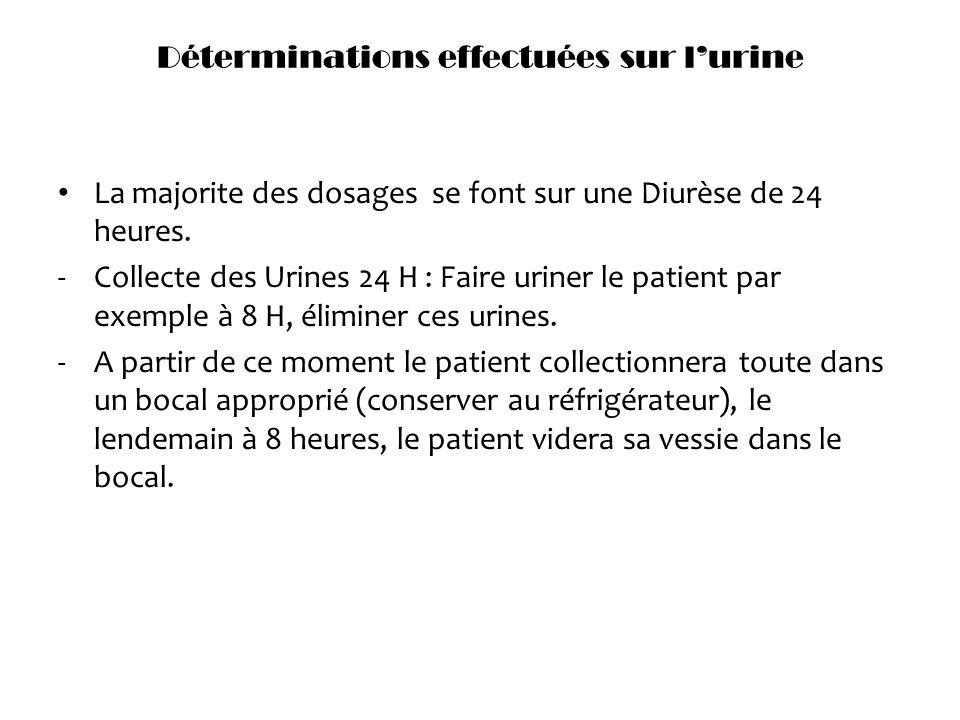Déterminations effectuées sur lurine La majorite des dosages se font sur une Diurèse de 24 heures. -Collecte des Urines 24 H : Faire uriner le patient