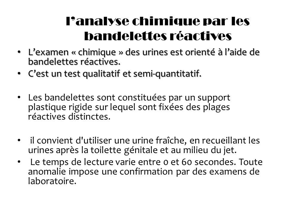 lanalyse chimique par les bandelettes réactives Lexamen « chimique » des urines est orienté à laide de bandelettes réactives. Lexamen « chimique » des