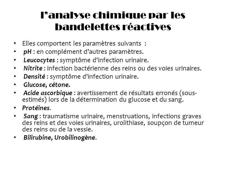 lanalyse chimique par les bandelettes réactives Elles comportent les paramètres suivants : pH : en complément dautres paramètres. Leucocytes : symptôm