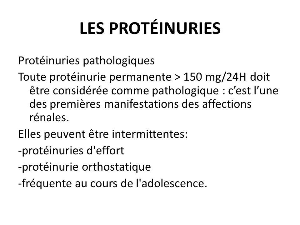 Protéinuries pathologiques Toute protéinurie permanente > 150 mg/24H doit être considérée comme pathologique : cest lune des premières manifestations