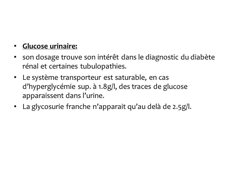 Glucose urinaire: son dosage trouve son intérêt dans le diagnostic du diabète rénal et certaines tubulopathies. Le système transporteur est saturable,
