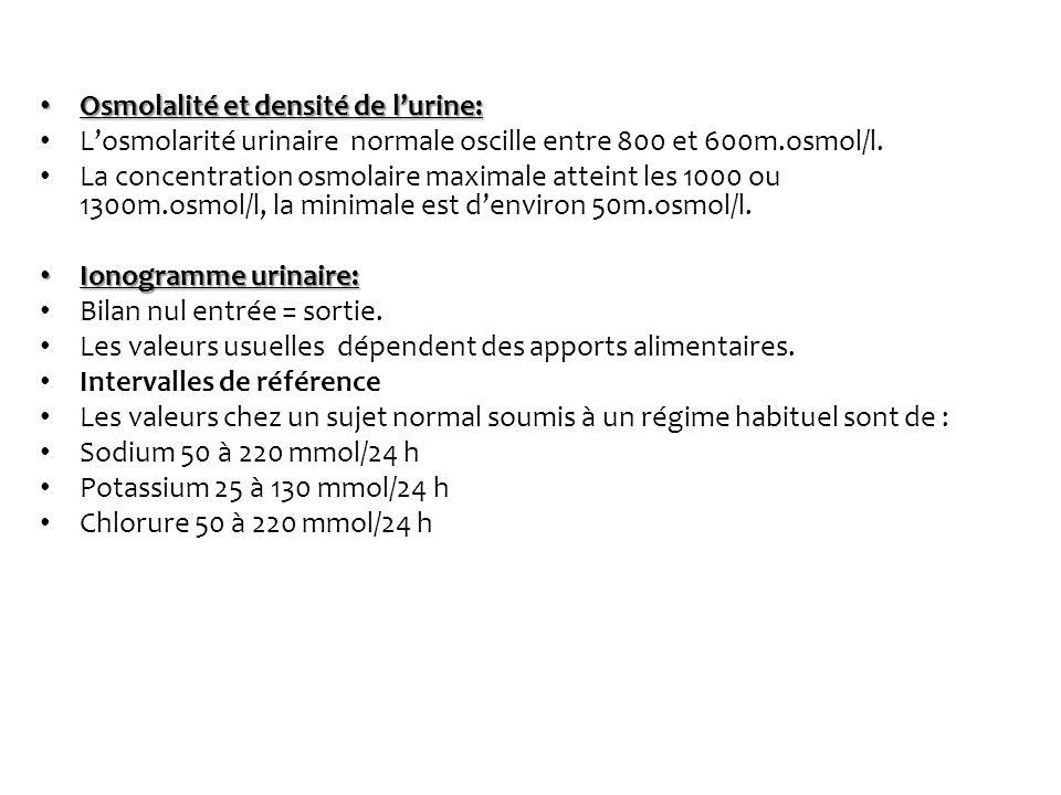 Osmolalité et densité de lurine: Osmolalité et densité de lurine: Losmolarité urinaire normale oscille entre 800 et 600m.osmol/l. La concentration osm