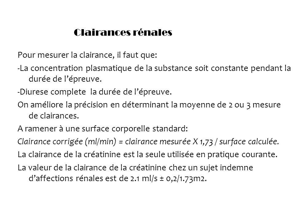 Pour mesurer la clairance, il faut que: -La concentration plasmatique de la substance soit constante pendant la durée de lépreuve. -Diurese complete l